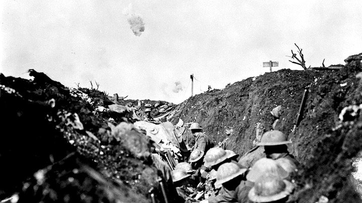 British soldiers in a trench during the Battle of the Somme in 1916.