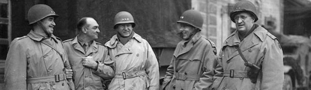 U.S. generals pose for a photo during the Battle of the Bulge.