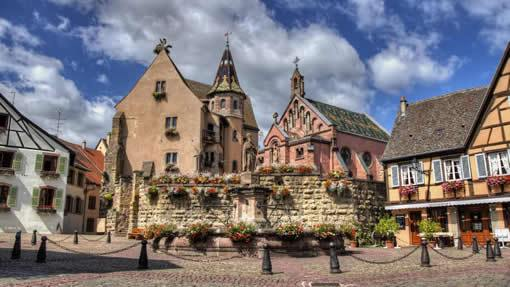 The main square in the village of Eguisheim in Alsace, France.
