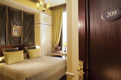 A bedroom at the Hotel Napoleon in Paris.