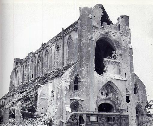 The partially destroyed Abbaye d'Ardenne as it stood after the allied D-Day invasion in 1944.