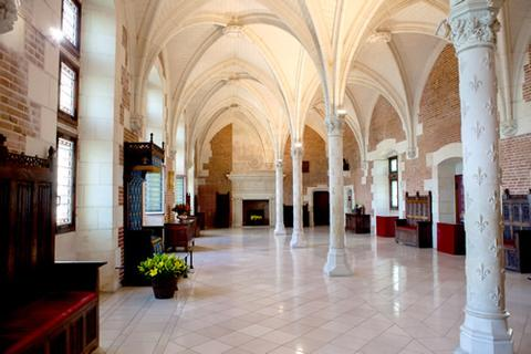 The marble columns inside the castle of Amboise in the Loire Valley.