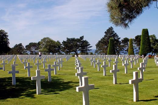 The American military Cemetery at Colleville-sur-Mer in Normandy, France on a sunny day. A major stop on our Normandy d-day tour.