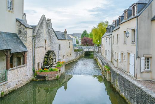 A stream in the center of the town of Bayeux in Normandy, France.