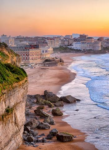 A look down from the cliffs at the beaches and resorts in Biarritz, France.