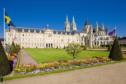An image of city hall in Caen, France from the grand lawn in front of the building.