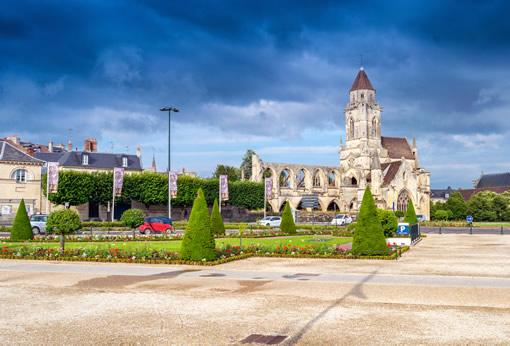 The plaza near the women's abbey in the center of Caen, France.