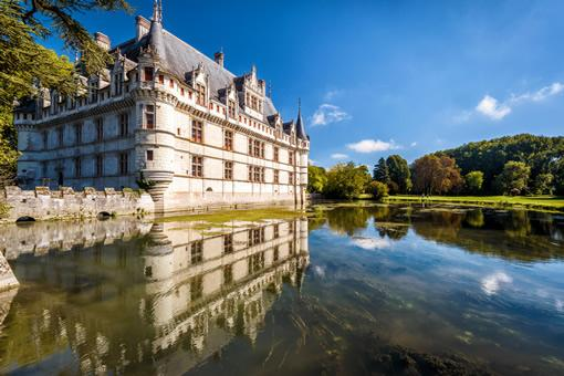 The pond near Chateau Azay-le-Rideau castle in the Loire Valley.