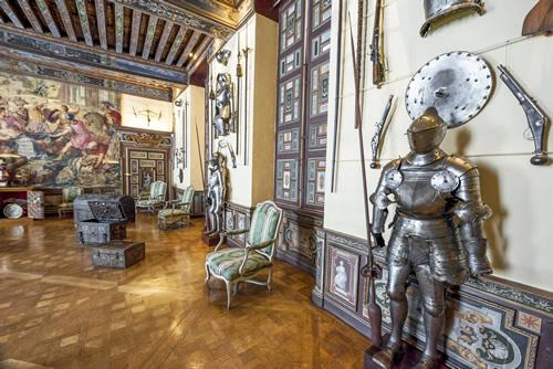 A suit of armor inside Cheverny castle in the Loire Valley.