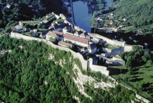 An aerial view of the citadel in Besançon in the Franche-Comte region of France.