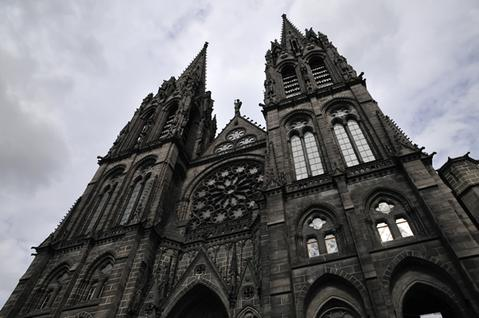 The facade of the Clermont-Ferrand Cathedral made entirely of volcanic rock.