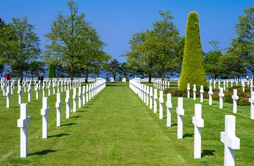 A view of a line of gravestones at the American military cemetery at Colleville-sur-Mer in Normandy, France.
