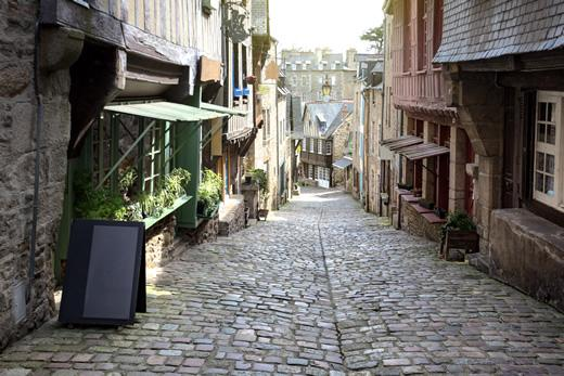 Medieval streets in the village of Dinan, France.