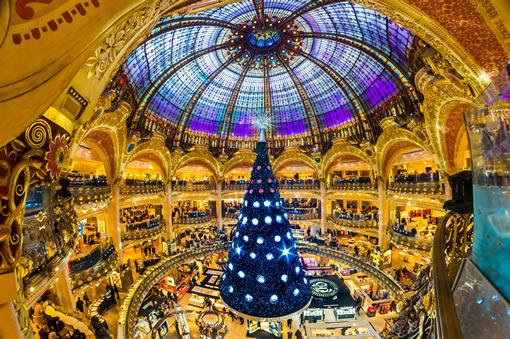Galeries Lafayette department store interior at Christmas.