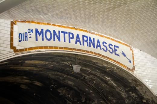 A sign in the metro at Gare Montparnasse in Paris, France.