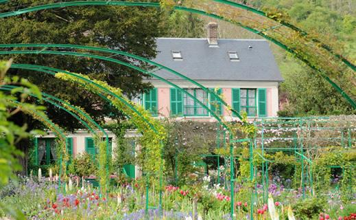 The exterior of Claude Monet's house in Giverny.