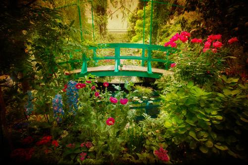A view of the garden and Giverny bridge at Monet's estate in Normandy, France.