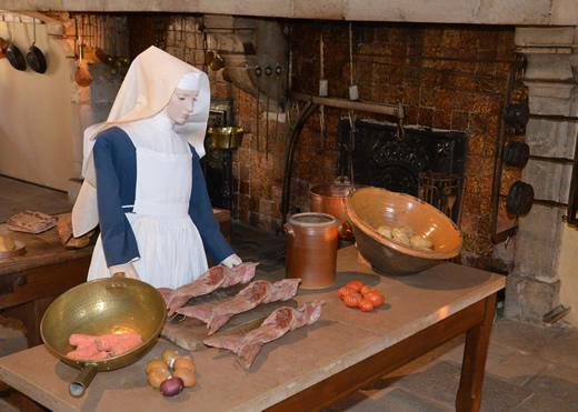 An exhibit inside the kitchen at the Hospices de Beaune in Burgundy, France.