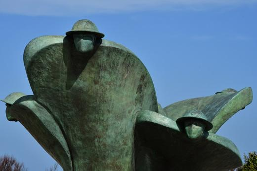 The iconic Canadian soldiers statue at the Juno Beach Centre in Courseulles, France.