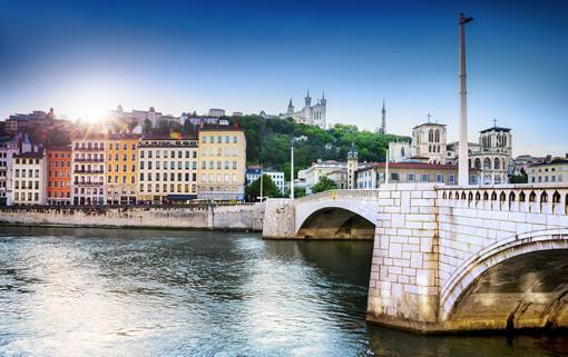 A view of Lyon's old town from across the Rhone river.