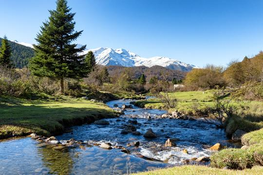 A stream at the foot of the Midi-Pyrenees Mountains in France.