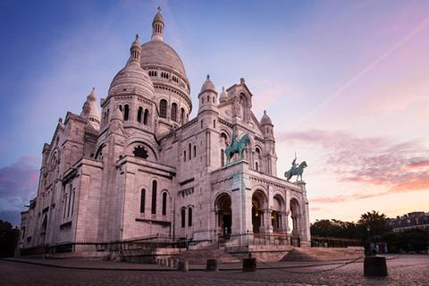 The main square in front of Sacre Coeur church in the Montmartre area of Paris.
