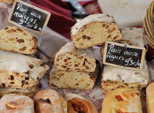 Bread and baked goods on display in a bakery in the south of France.