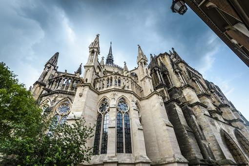 The exterior of the cathedral in Reims, France.