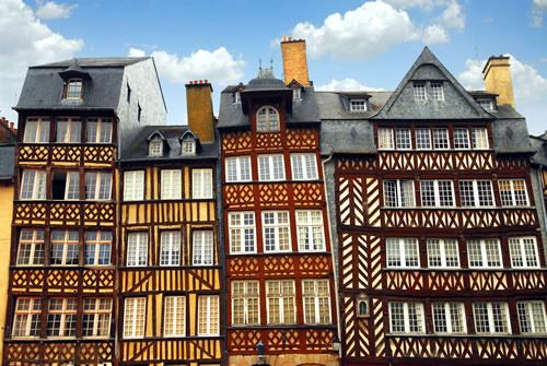 Half-timbered houses in Rennes, France.