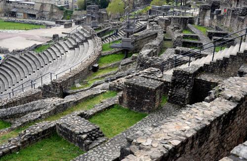 The audience section of an amphitheater in the Roman ruins in Lyon, France.