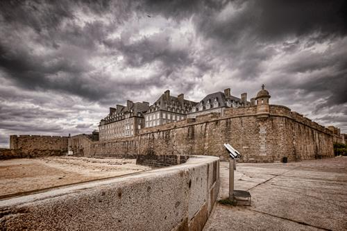The walls outside of the old town of Saint Malo in Brittany, France.