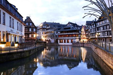 The canal in the center of charming old Strasbourg in Alsace, France.