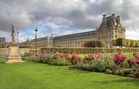 The view of the Louvre from the Tuileries Gardens in Paris.