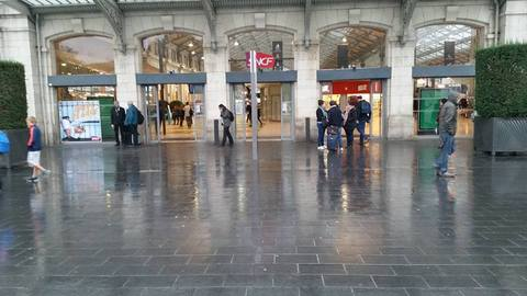 The exterior of the Gare de Lyon station in Paris, France.