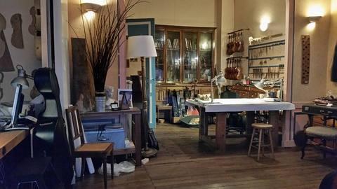 A violin maker's workshop.