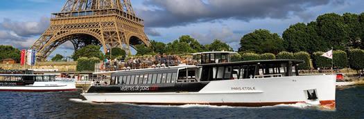 A Vedettes de Paris boat on the Seine river in Paris.