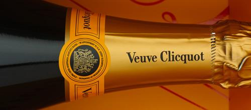 A bottle of Veuve Clicquot champagne at the wine cellars in Reims, France.