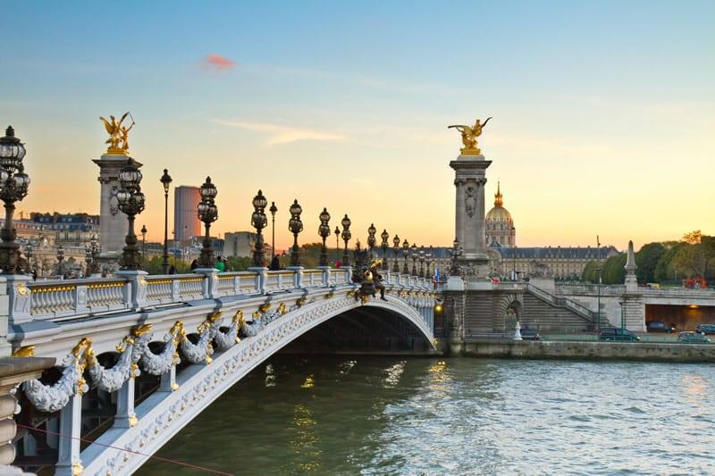 The Alexander III bridge in Paris.