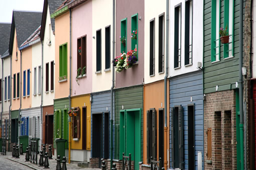 Traditional homes in Amiens, France.