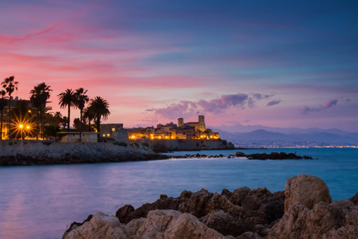 The harbor in Antibes Juan-les-Pins at sunset.