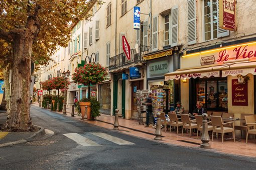 A charming street in the center of Antibes Juan-les-Pins.