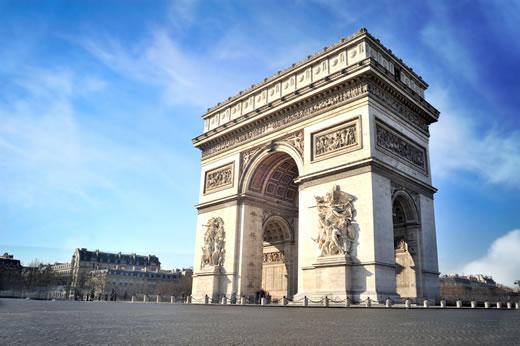 The exterior of the Arc de Triomphe in Paris.