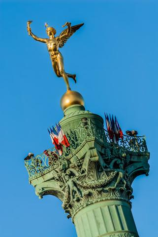 The top of the Bastille monument in Paris.