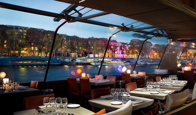 The interior of a Bateaux Parisians dinner cruise ship.