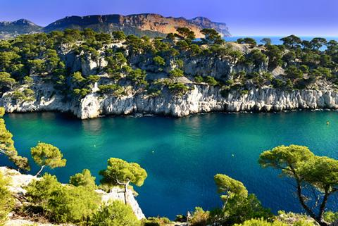 A view from atop a Calanque during the summer.