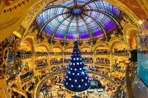 Paris Shopping: The giant Christmas tree inside the Galeries Lafayette department store in Paris.