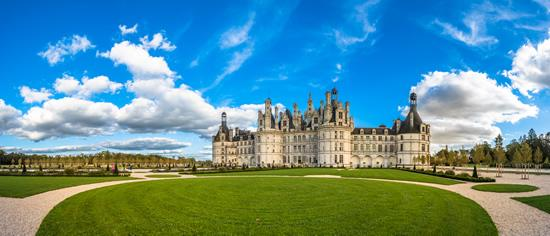 Chambord castle on a sunny day in the Loire Valley, France.