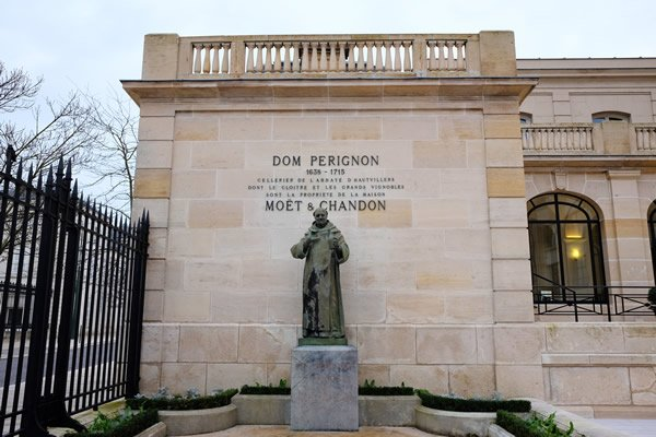 A statue at Moet dedicated to the father of Champagne - Dom Perignon.