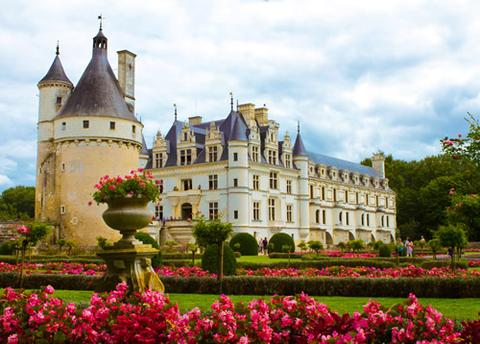 The gardens of Chenonceau castle in the Loire Valley, France.