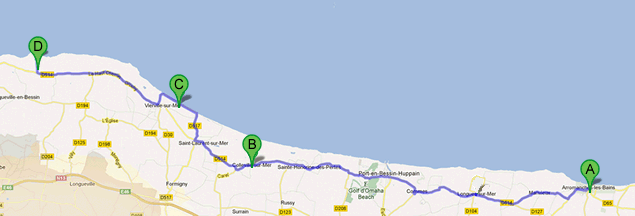 A map of the tour stops of LinkParis's Normandy D-Day Tour from Paris.